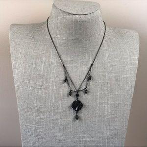 Delicate matte black gothic rhinestone necklace